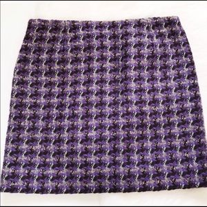 J.Crew Purple Metallic Houndstooth Mini Skirt Sz 6